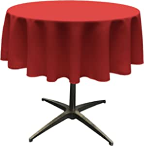 """LA Linen Polyester Poplin Round Tablecloth, 58"""", Red"""