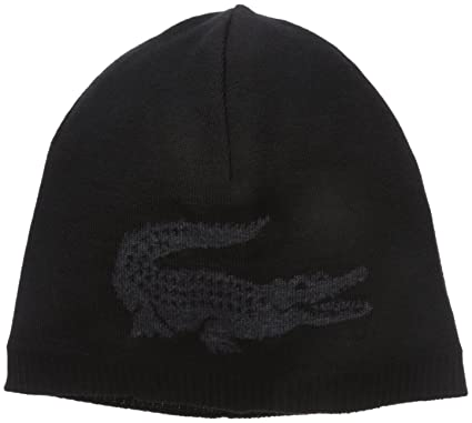 5d65dcc3 Lacoste Men's Big Crocodile Jacquard Reversible Wool Beanie,  Black/Carthusian Chine, One Size at Amazon Men's Clothing store: