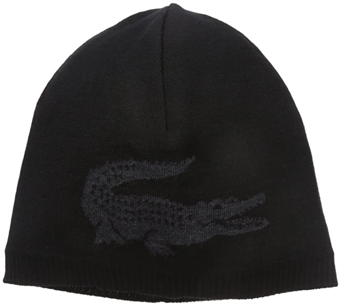 e14299f83 Lacoste Men s Big Crocodile Jacquard Reversible Wool Beanie