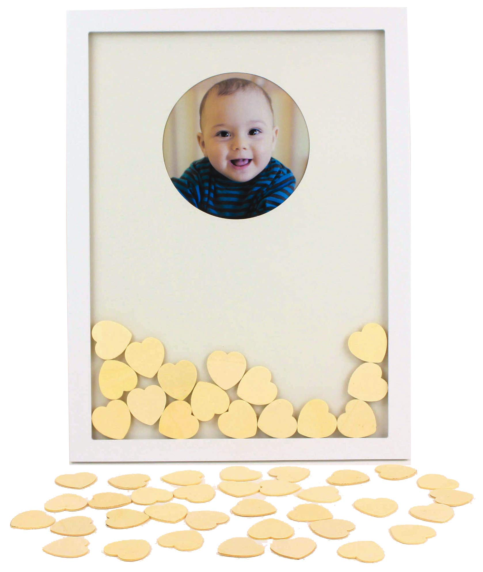 Plushible Baby Shower Guest Book 50 Hearts - Gender Reveal Party Supplies - Personalized Baby Shower Keepsake with Photo