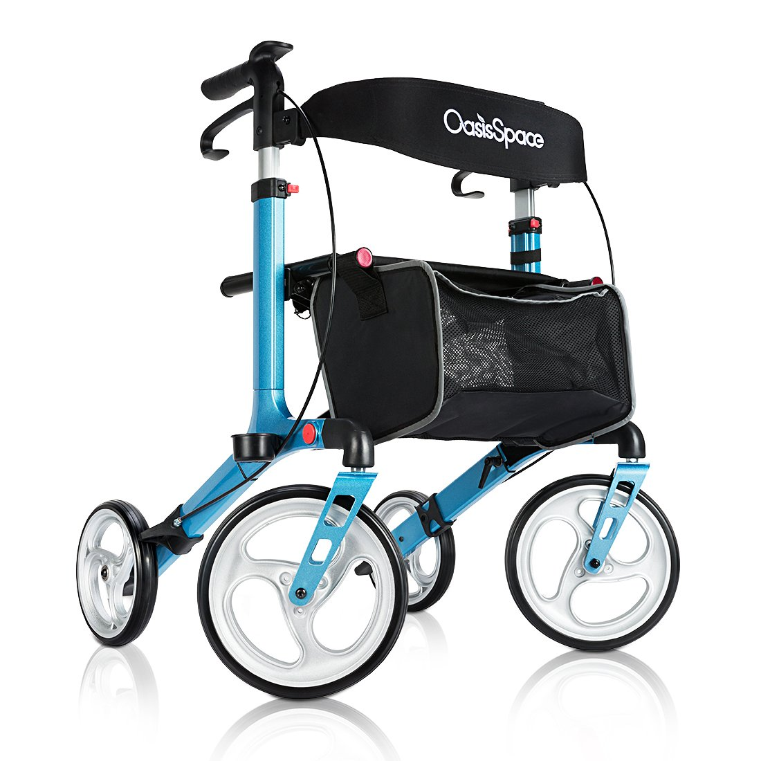 Deluxe Aluminum Rollator Walker, with 10'' Wheels and Seat Compact Folding Design Lightweight Baking Finish By OasisSpace (Coral Blue)