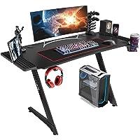 Linsy Home Z Shape Black Gaming Desk with Cup Holder (Black)