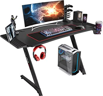 Linsy Home Z Shape Black Gaming Desk with Cup Holder