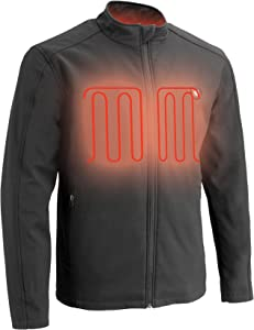 Milwaukee Performance-Men's Zipper Front Heated Soft Shell Jacket w/Front & Back Heating Elements includes portable battery pack-BLACK-2X 1762
