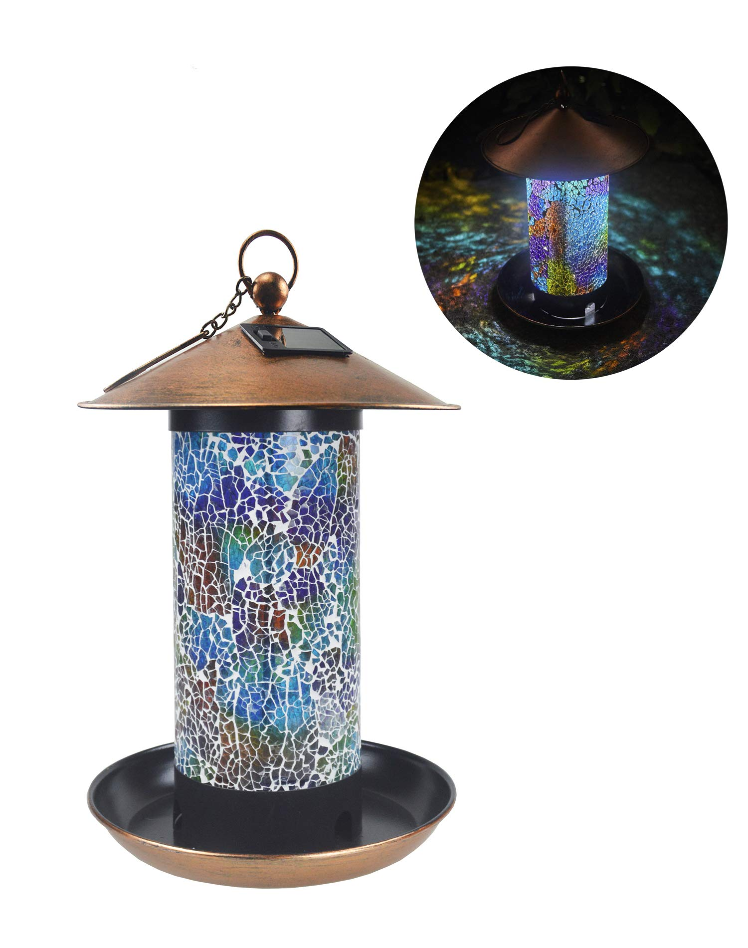 Sepfier Solar Power Energy Bird Feeder Outdoor Hanging Handcrafted Mosaic Glass LED Garden Light Waterproof Unique Gift (Blue)