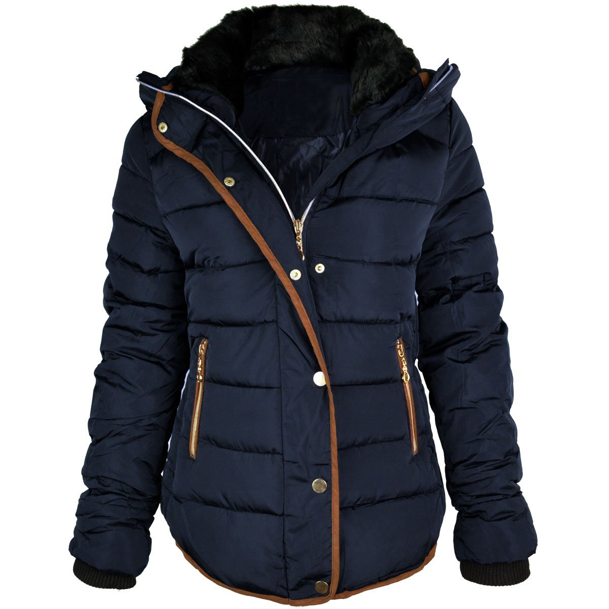 Fashion Thirsty Women's Quilted Hooded Winter Puffer Coat at ...