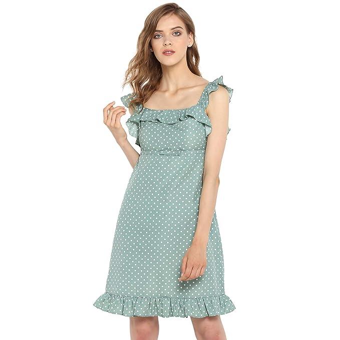 Spotstyl Green Polka Dots Women Dresses Western Short Dresses For