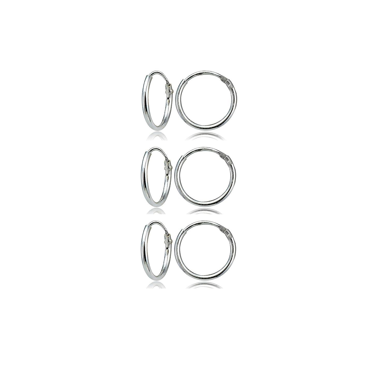 Sterling Silver Small Endless 10mm Round Unisex Hoop Earrings, Set of 3 Pairs Hoops 4 Less UK_B01KVU5BCA