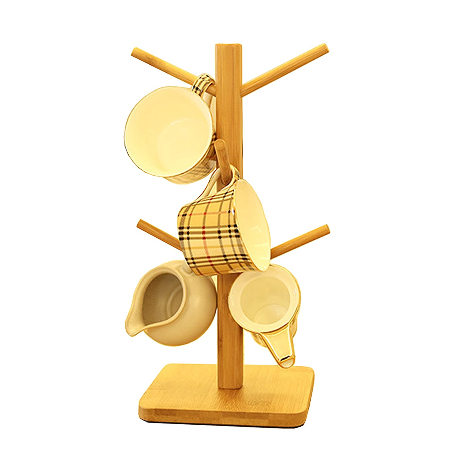 Oak-Pine Wooden Removable Tea Cups Tree Storage Holder Rack Bamboo Coffee Mugs Organizers Drying Hanging Stand with 6 Hooks Generic