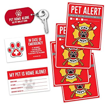 Incredible Pet Alert Fire Rescue Sticker 4 5 X 4 Window Door Decal 2 Animal Care Wallet Cards 1 Pet Home Alone Key Tag In Case Of Emergency Sign Beutiful Home Inspiration Aditmahrainfo