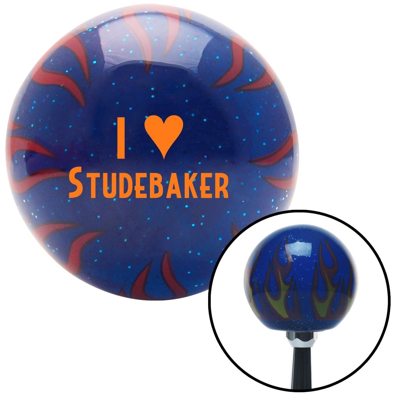 Orange I 3 Studebaker American Shifter 245758 Blue Flame Metal Flake Shift Knob with M16 x 1.5 Insert