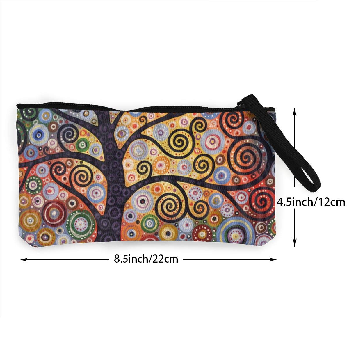 Coin Pouch Beautiful Art Tree Canvas Coin Purse Cellphone Card Bag With Handle And Zipper