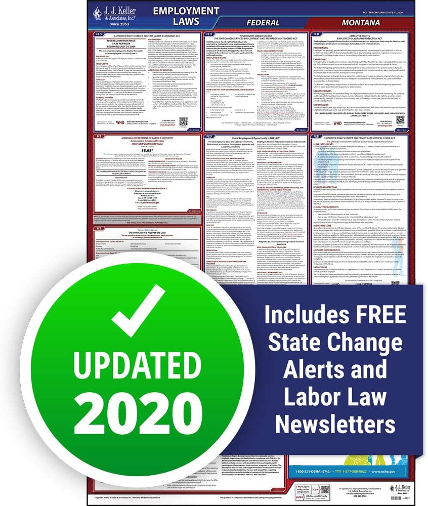 """2020 Montana Labor Law Poster, All-in-One OSHA Compliant MT State & Federal Laminated Poster (26"""" x 40"""" English) - Comes with Free Newsletter & Free State Change Alerts - J. J. Keller & Associates"""