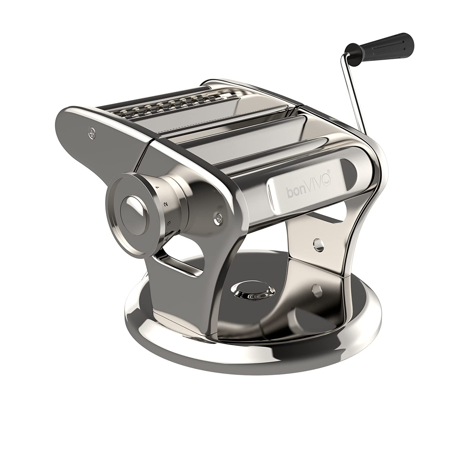 bonVIVO Pasta Mia Stainless Steel Pasta Machine With Chrome Finish And Innovative Suction Base, For The Pleasure Of Italian-Style Pasta From Your Own Kitchen Bonstato