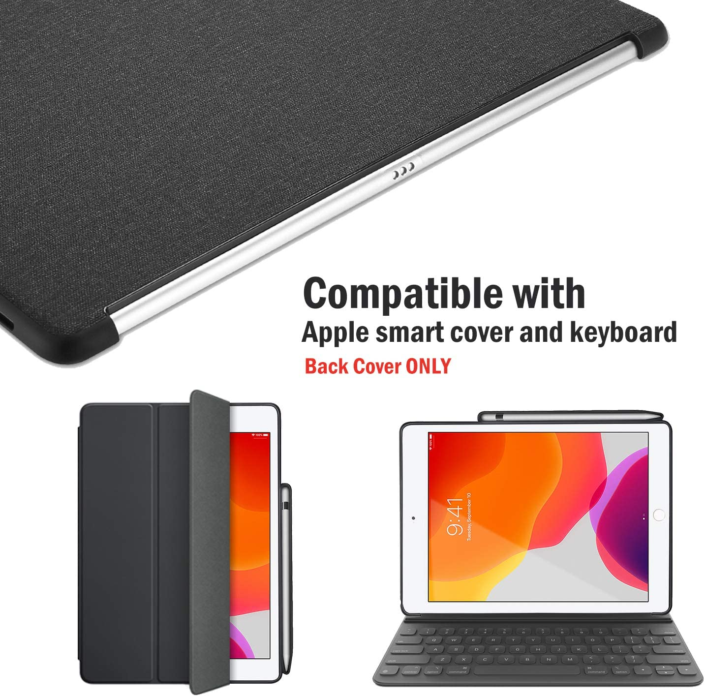 Perfect Match for Apple Smart Keyboard and Smart Front Cover 7th /& 8th Generation KHOMO iPad 10.2 2019//2020 Companion Back Case