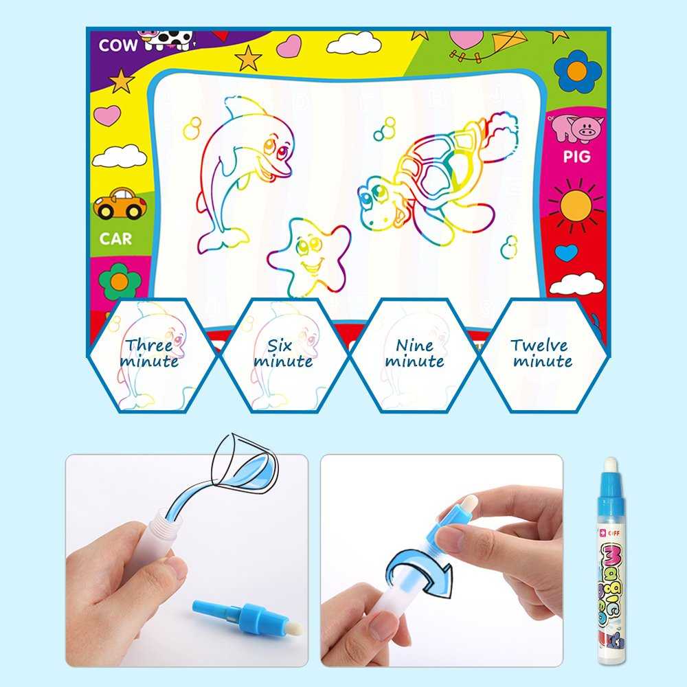 Magic Water Doodle Mat with Rainbow Color Swatches,Children Water Drawing Mat Board,Educational Toy Gift jun-see