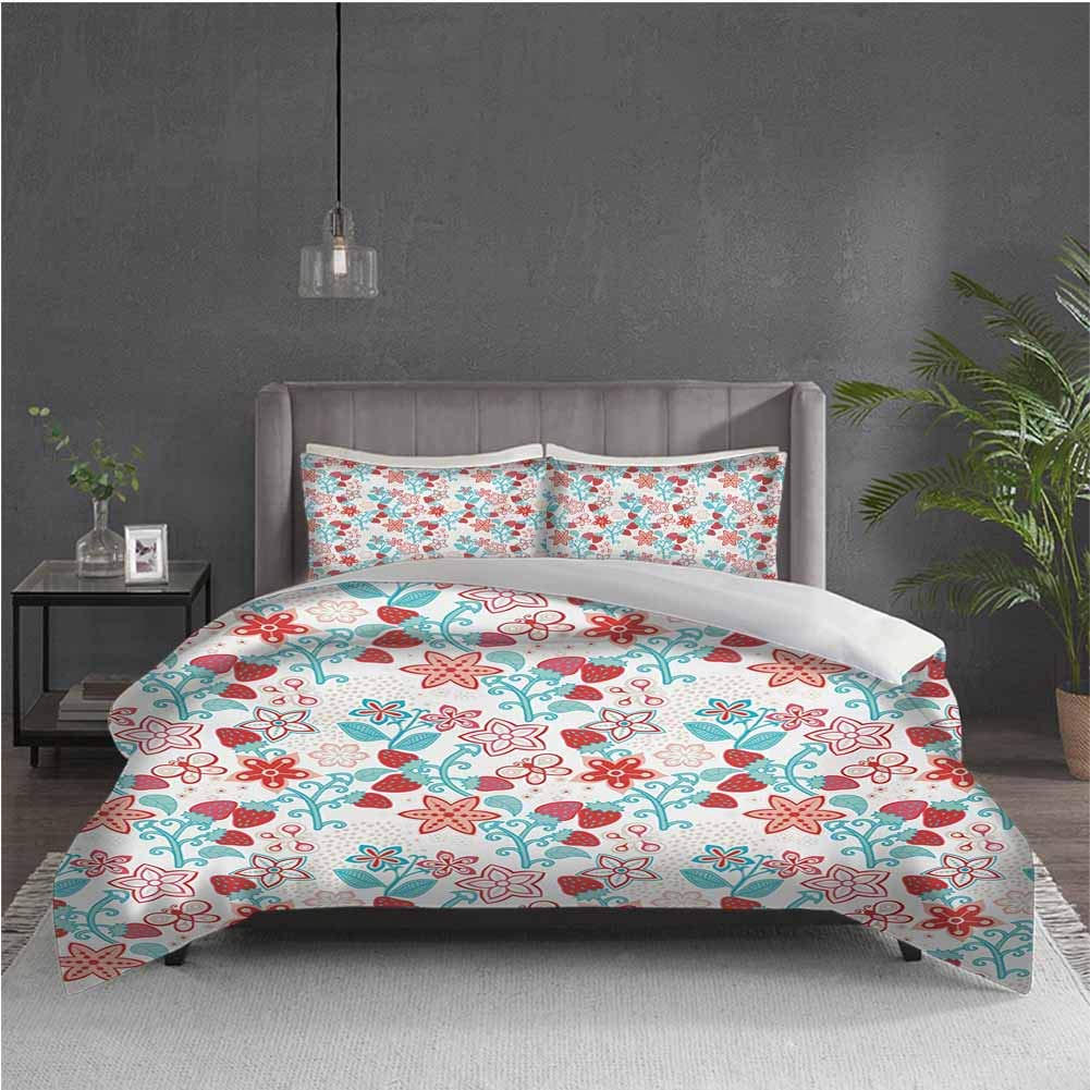 GUUVOR Floral Pure Bedding Hotel Luxury Bed Linen Cute Flowers Ladybugs Butterflies Strawberries Kids Nursery Playroom Pattern Polyester - Soft and Breathable (King) Dark Coral Aqua