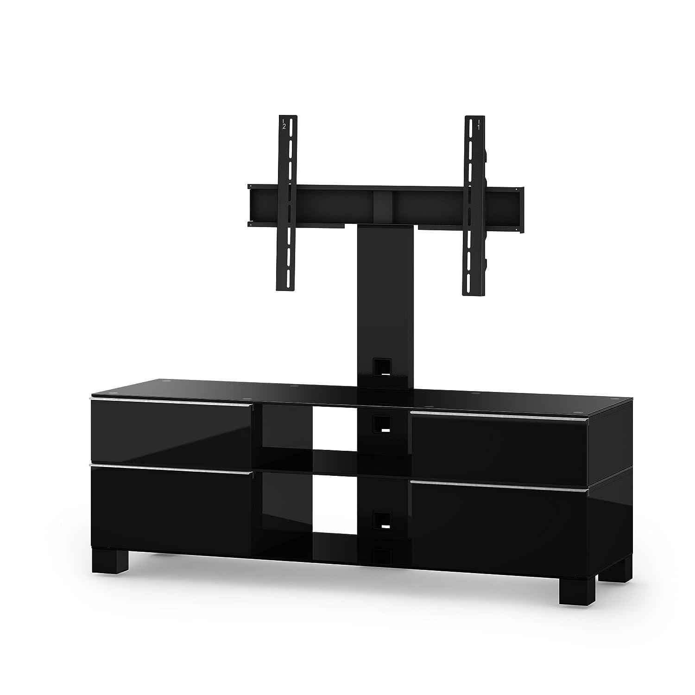 Sonorous MD 8240-B-HBLK-BLK Fernseher-Möbel mit Schwarzglas (Aluminium Hochglanz/Korpus Hochglanzdekor) schwarz