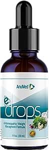 Anumed e-Drops Premium Fast Fat Burner | Metabolism & Energy Booster | Control Hunger | Super Fast Transformation | Healthy Weight Loss Drops | All Natural Vegan & Keto-Friendly for Women & Men (1oz)