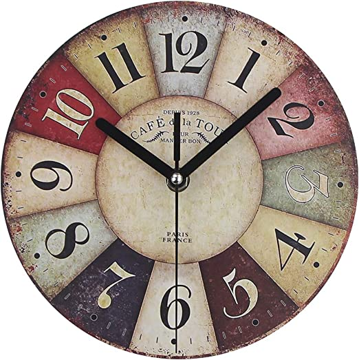 Timelike MDF Wooden Wall Clock Vintage Rustic Country Round Decorative  Clock Retro Style Quartz Wall Clock (7 Inch, Colorful)