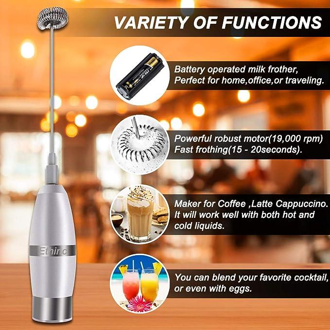 Espumador de leche electrico de mano para café Latte Cappuccino batidor de bebida chocolate caliente con 3 tamaños de acero inoxidable + 1 termómetro de ...