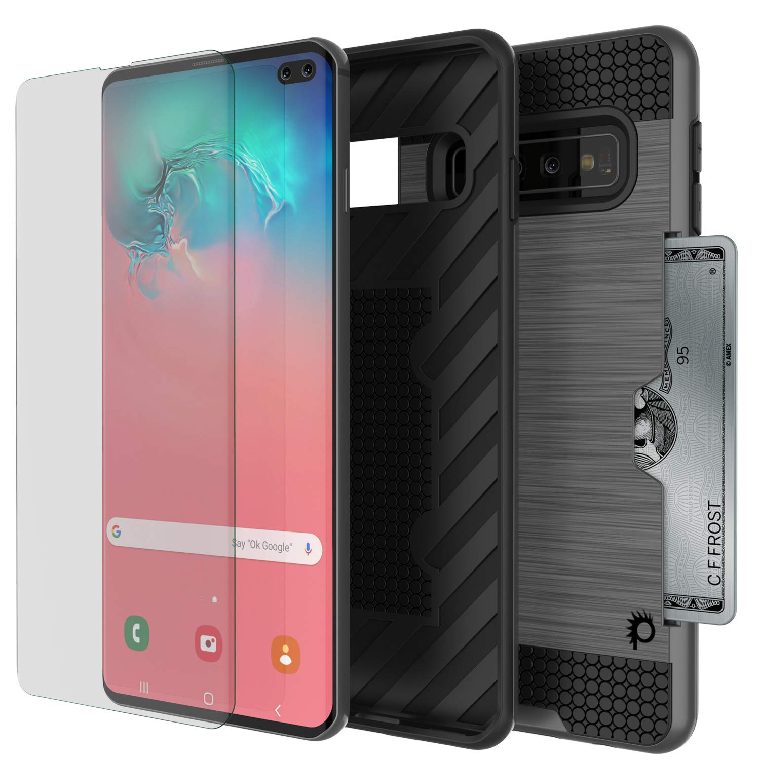 PunkCase S10 Plus Case [Slot Series] [Slim Fit] Dual-Layer Armor Cover w/Integrated Anti-Shock System, Credit Card Slot & PUNKSHIELD Screen Protector Compatible W/Samsung Galaxy S10 Plus [Grey]