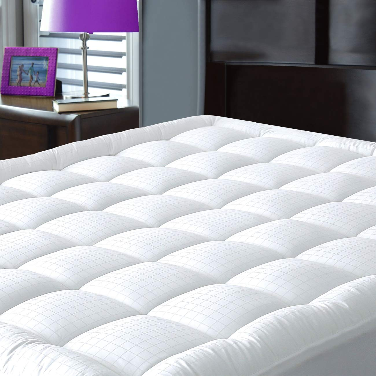 JURLYNE Pillowtop Mattress Pad Cover Twin Size - Hypoallergenic - Cotton Down Alternative Filled Mattress Topper