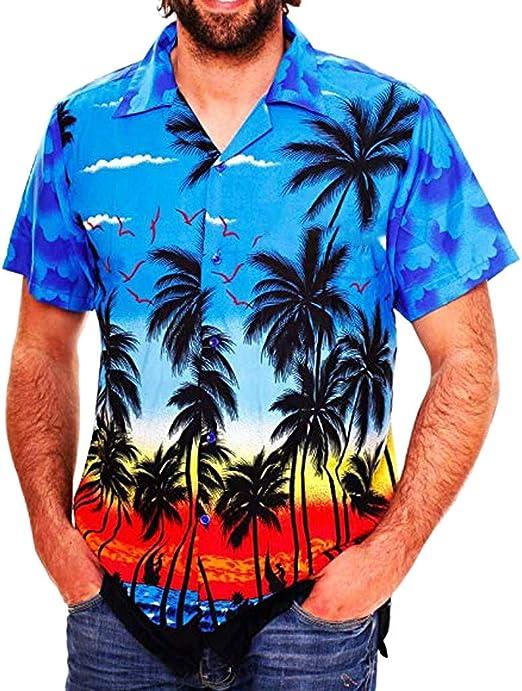 Mens Casual Button Hawaii Print Beach Short Sleeve Quick Dry Top Blouse T-shirts