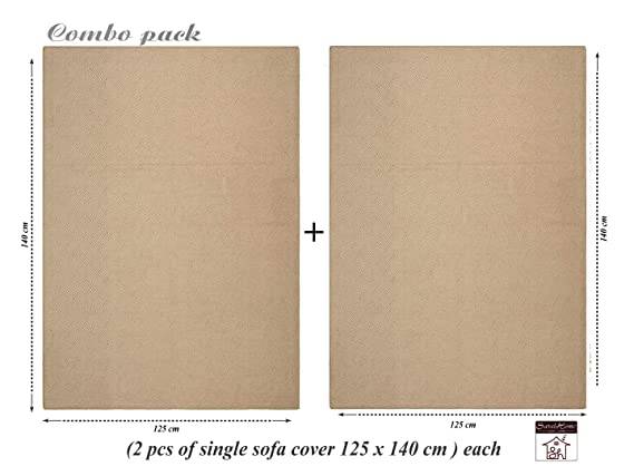 Saral Home Soft Decorative Chenille Sofa Covers (Beige, 140x125 cm) - Set of 2 Pcs