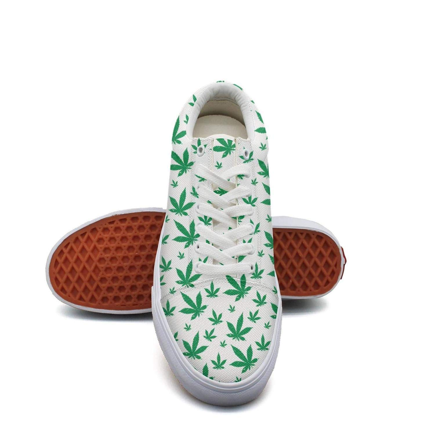 Opr7 Green Outdoor Cannabis Women Lace-Up Skate Shoes Canvas Upper Loafer Fashion
