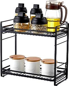 ZCCZ Spice Rack Organizer, 2-Tier Spice Organizer Kitchen Rack Shelf Seasoning Rack Holder Countertop Organizer for Kitchen Bathroom Office Storage, Black