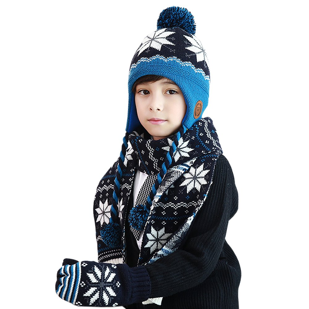 MiMiXiong Boys Girls Hat Scarf Gloves Sets Autumn Handmade Knitted Kids Snowflake Pattern 3Pcs Suits(Blue-3Pcs,4-12Y)