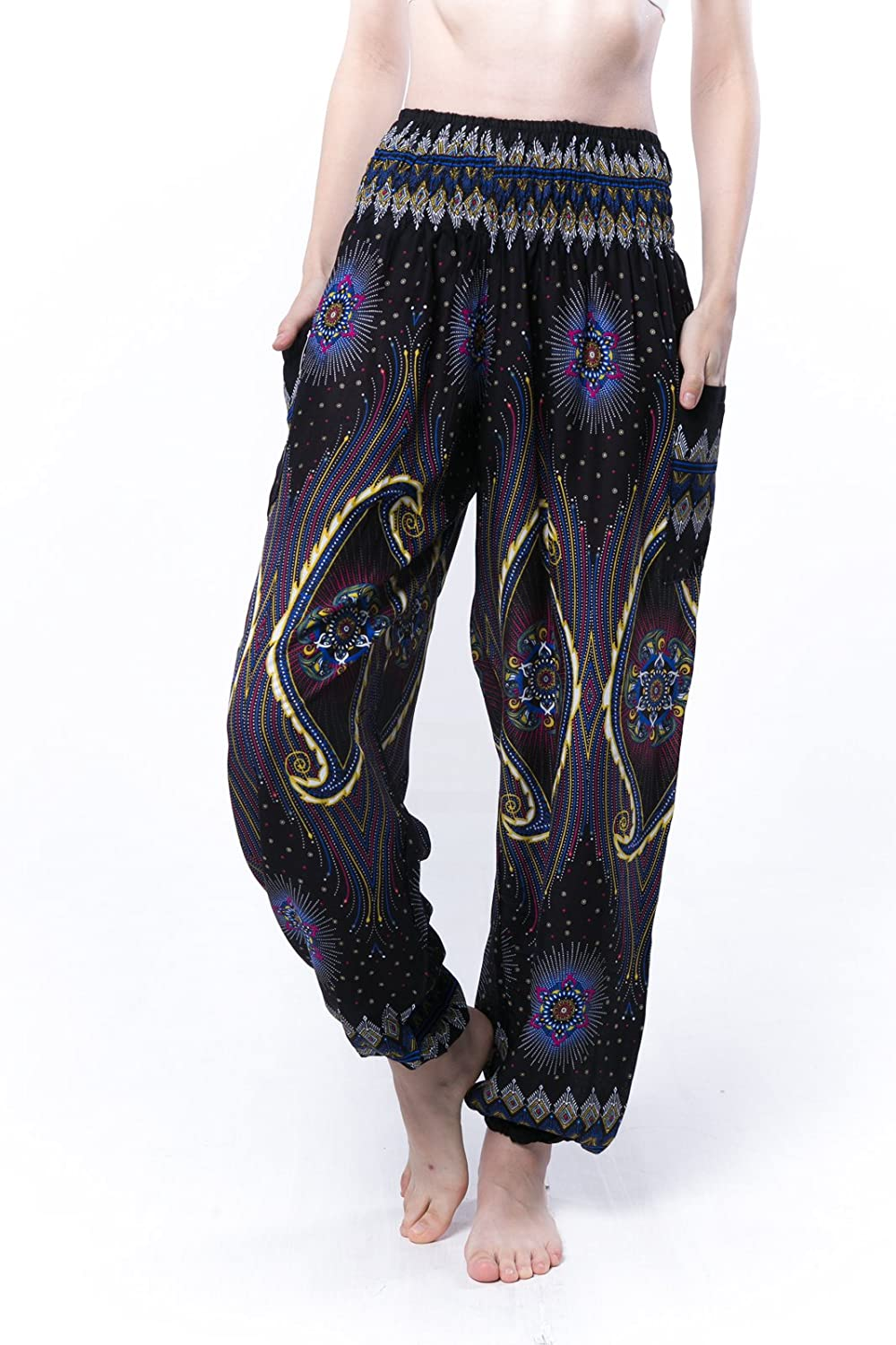 98f9cdb724 SPOT ON FIT: These regular ONE SIZE FIT ALL Thai Harem pants measure about  US size 2-16: Stretchy Waist approx 22