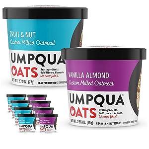 Umpqua Oats   All Natural, Premium Oatmeal Cups   No Mush, Custom Milled   Non-GMO (8 count) (Variety A)