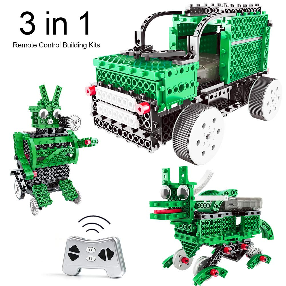 ZALALOVA Remote Control Building Kits, 201PCS 3 in 1 STEM Green Robot Building Kit Saint Patrick's Day Gifts DIY Remote Control Building Blocks Toys for Boys Girls Age 5 6 7 8 9 10