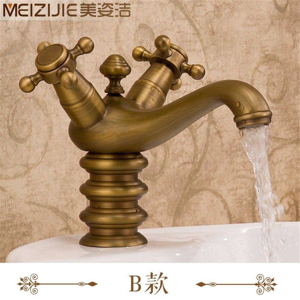 SADASD European High-End Copper Bathroom Basin Faucet Antique Garden Retro Wash Basin Sink Tap Single Hole Single Handle Ceramic Valve Hot And Cold Water Mixer Tap With G1 2 Hose