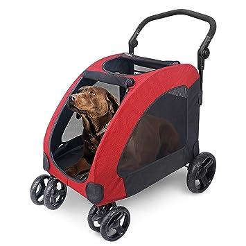 Wooce Pet Carrito de Cuatro Ruedas Trolley para Perros Carritos de Gatos Plegables para Perros Grandes medianos Salientes, Carga Dentro de 60 kg - ...
