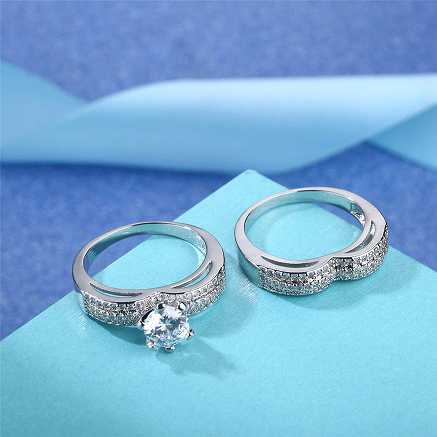 AMDXD Jewelry Silver Plated Engagement Rings for Women Heart Design Round Crystal