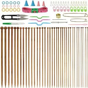Agujas de Punto Bambú, BUZIFU 36 Piezas Agujas Tejer con Una Funda Protectora, Agujas de Madera para Suéter Proyecto de Encajes y Flores