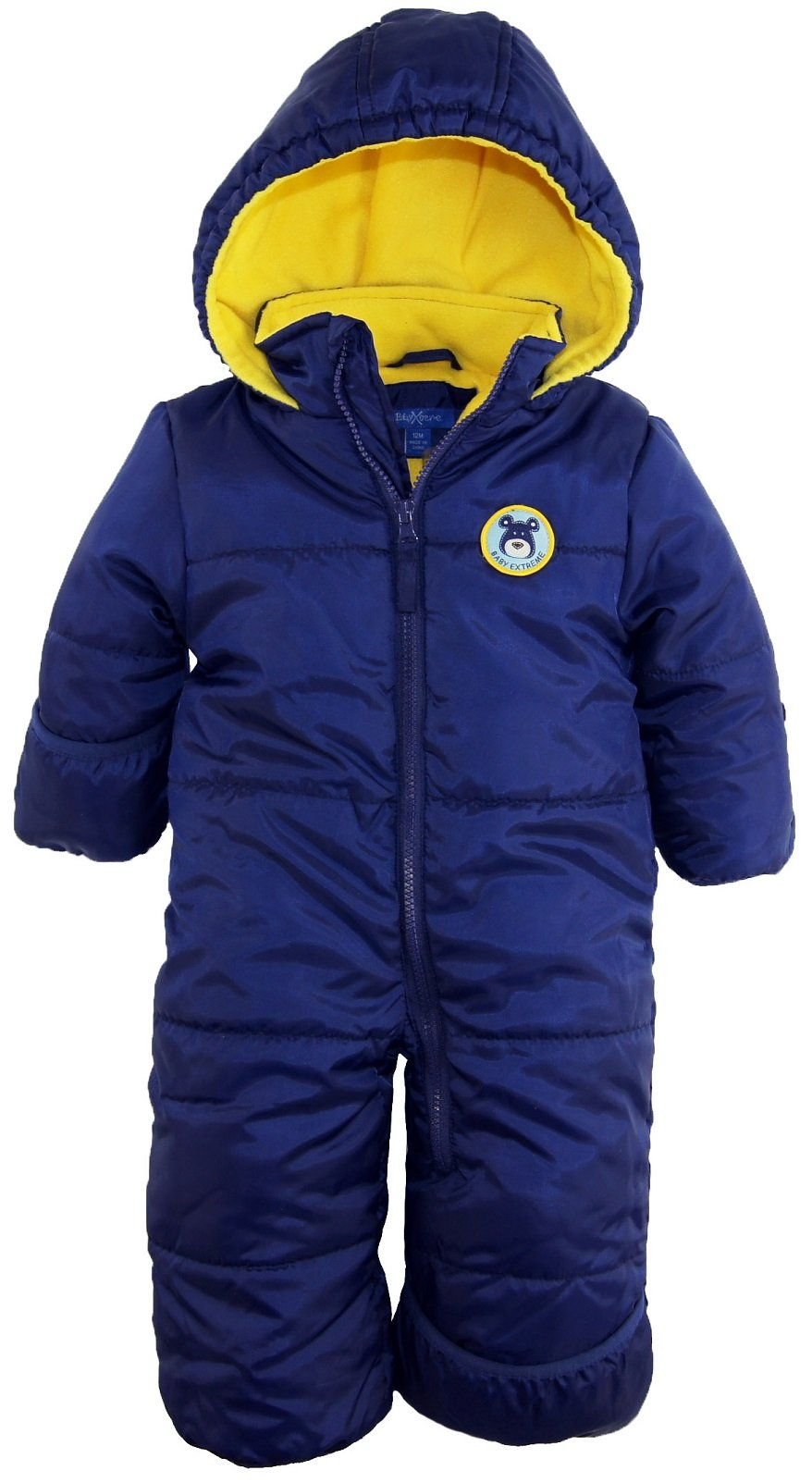 iXtreme Baby Boys Infant Cute Teddy Bear One Piece Puffer Winter Snowsuit, Navy, 24 Months