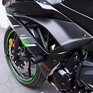 Shogun Kawasaki Ninja 650 Z650 Z 650 EX 2017 2018 2019 Black No Cut Frame Sliders 750-4519 - MADE IN THE USA