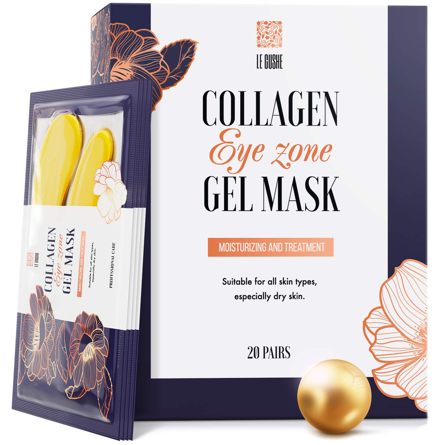 Under Eye Patches - 24K Gold Under Eye Mask Anti-Aging Hyaluronic Acid Collagen Under Eye Pads Reducing Dark Circles & Wrinkles Treatment Gel Bags by Le Gushe