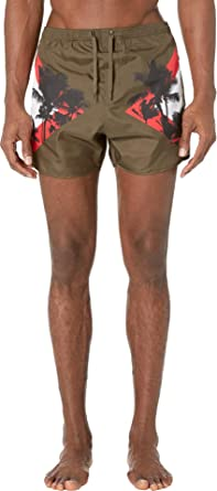 45da1c3021 Neil Barrett Men's Palm Modernist Swim Shorts Military/Red/White Small