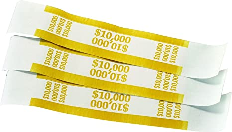 Straps Money Tens $1000 Denomination 5,000 New Self-Sealing Currency Bands