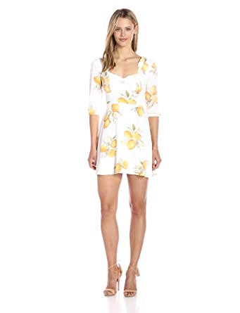 For Love & Lemons Women's Limonada Mini Dress, Lemon, XS