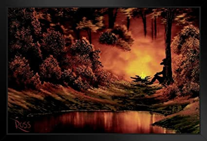 Amazon Com Bob Ross Campfire Art Print Canvas Painting Poster 12x18