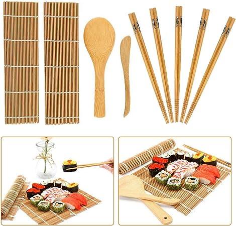 Kit de fabricación de sushi de bambú, 9 piezas, alfombrilla de ...