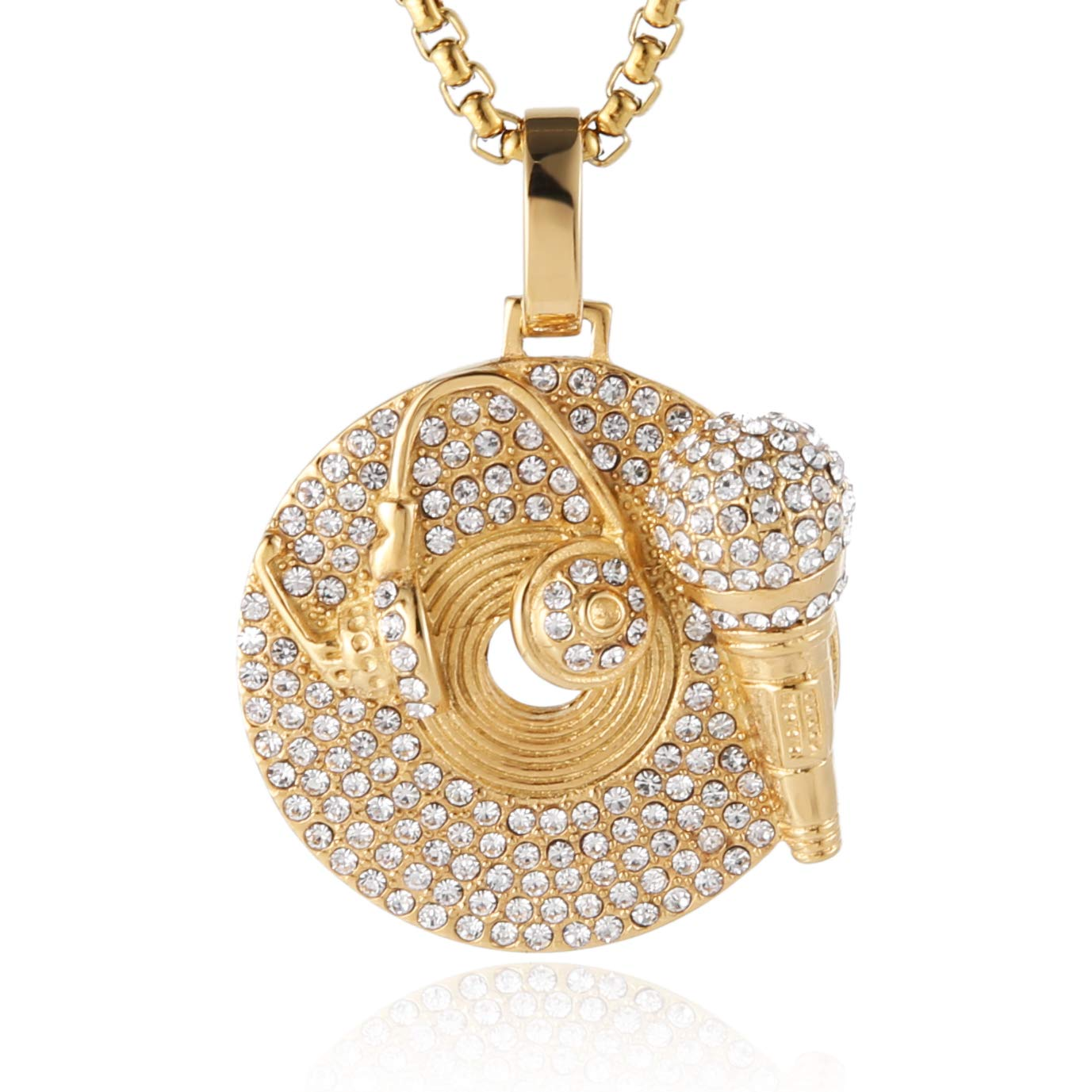 HZMAN Music Design CZ Iced Out Hip Hop Headset Microphone Record Pendant Necklace (Gold)