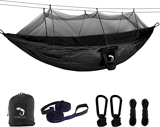 Ultralight Portable Nylon Fabric Travel Hiking Camping Hammock Ropes and Alloy Carabiners Included KANSOON Double Parachute Camping Hammock