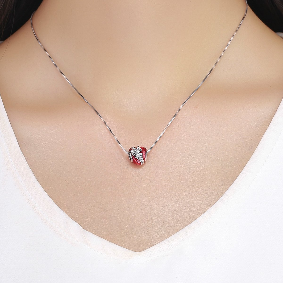 BAMOER 925 Sterling Silver Heart Charm Beads Heartbeat Love Heart Shape Charm Fit Bracelet Necklace for Her